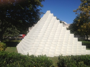 Pyramid sculpture.
