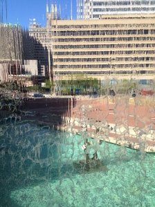 View from inside the fountain on the harbourside.
