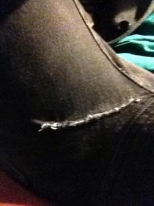 My... ah, adequate repair job on my jeans.