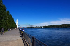 Jacques-Cartier Bridge crossing the Saint Laurent River.