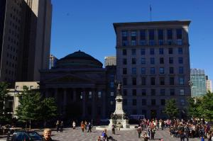 Monument à Maisonneuve, in the middle of Place d'Armes, just across from the Basilica.