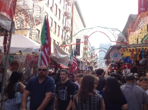 Tourists flooded the street festival of San Gennaro.