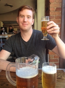 Stuart enjoying a beer after our morning of sightseeing.