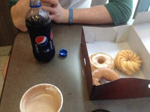 Breakfast of champions - a box of donuts from Tim Hortons.
