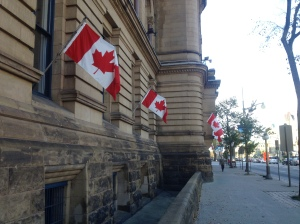 Canadian flags depicting the iconic maple leaf were everywhere.