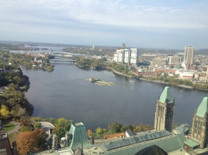 The Ottawa River as seen from the Peace Tower.