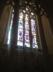 Stained glass window in the parliament building.