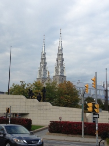 The silver spires of the Notre Dame Basilica in Ottawa.