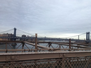 Bridges connecting Brooklyn and Manhattan across the East River.