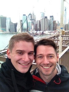 Ralf and I on the Brooklyn Bridge, with lower Manhattan in the background.