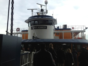 Boarding the Staten Island Ferry.