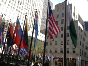 Flags around the ice rink in front of the Rockefeller Center.