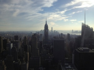The Empire State Building in the hazy, afternoon sun.