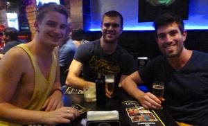Myself, Tom and James with our beers at the start of the night.