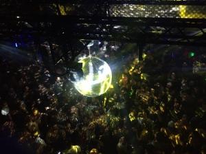 Dancing under disco balls.