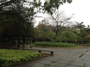 Empty park on a rainy day.