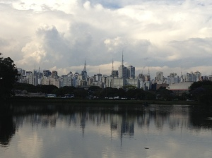 The São Paulo skyline as seen from Ibirapuera Park.