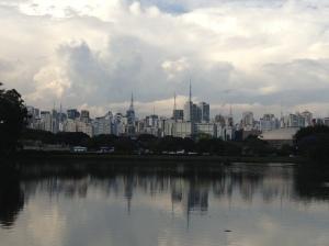 The São Paulo skyline as seen from Ibirapuera Park.