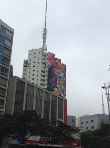 Street art seen off Avenida Paulista.