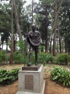The Gandhi Square, and the statue that pays homage to its namesake.