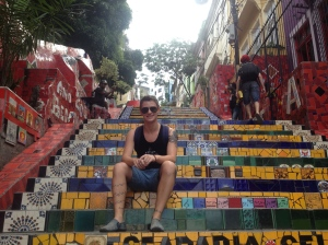 Sitting on the steps of Lapa.