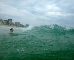 And there's me, diving into the surf.