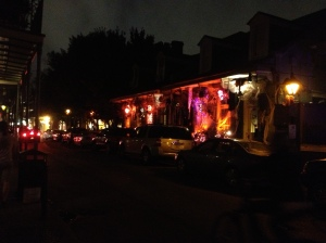 Houses along the French Quarter, decorated for the upcoming Halloween.