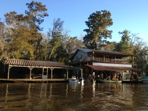 Swamp houses on the water, in the middle of nowhere.