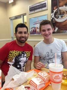Hector and I in Whatabuger, before being sick.