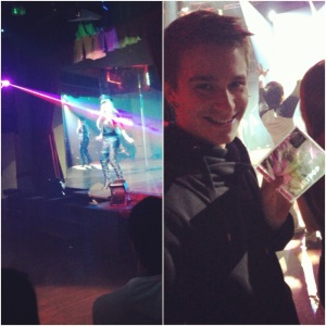 The queen performing on stage; me with my new CD.