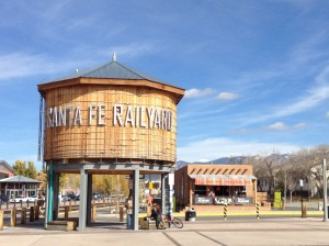 Water tower by the Santa Fe Railyard, near where we got our burritos.
