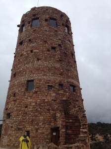 An old lookout tower on the edge of the canyon.
